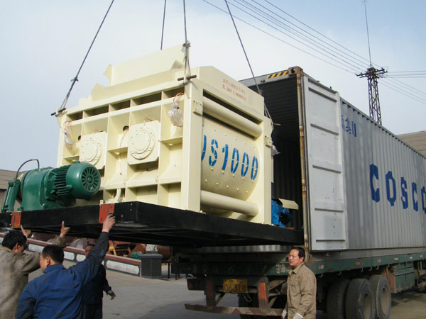 JS1000 twin shaft mixer delivery