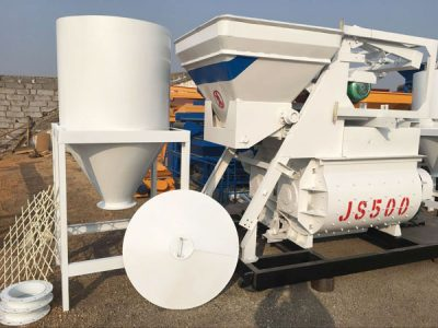 JS twin shaft concrete mixer and hopper